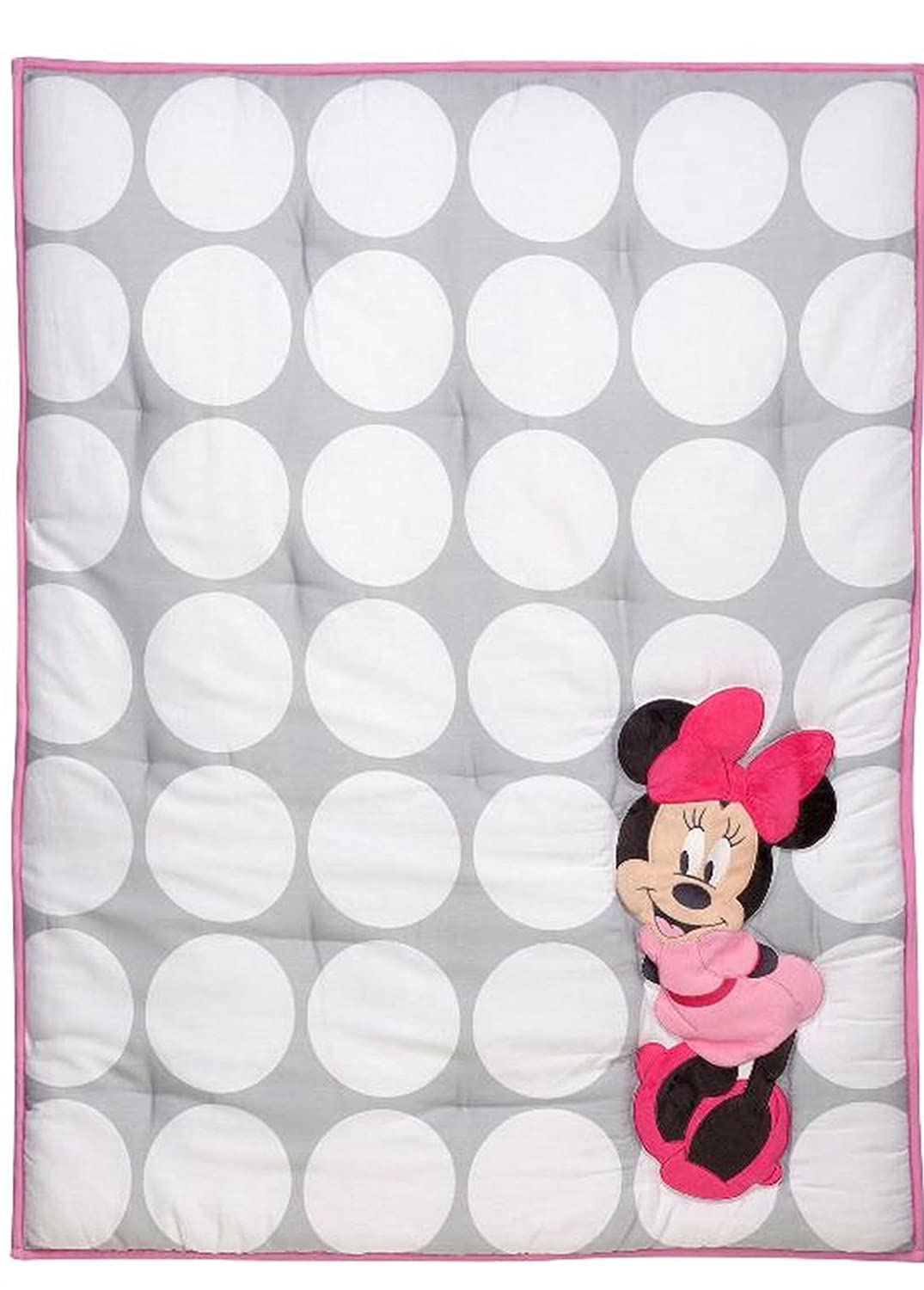 Disney Minnie Mouse Polka Dots Baby Crib or Stroller - Quilted Appliqued (Comforter Only) Crown crafts company