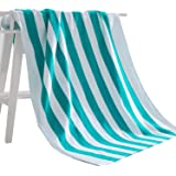 "Exclusivo Mezcla 100% Cotton Cabana Striped Beach Towel Caribbean Blue and White (30"" x 60"")—Soft, Quick Dry…"