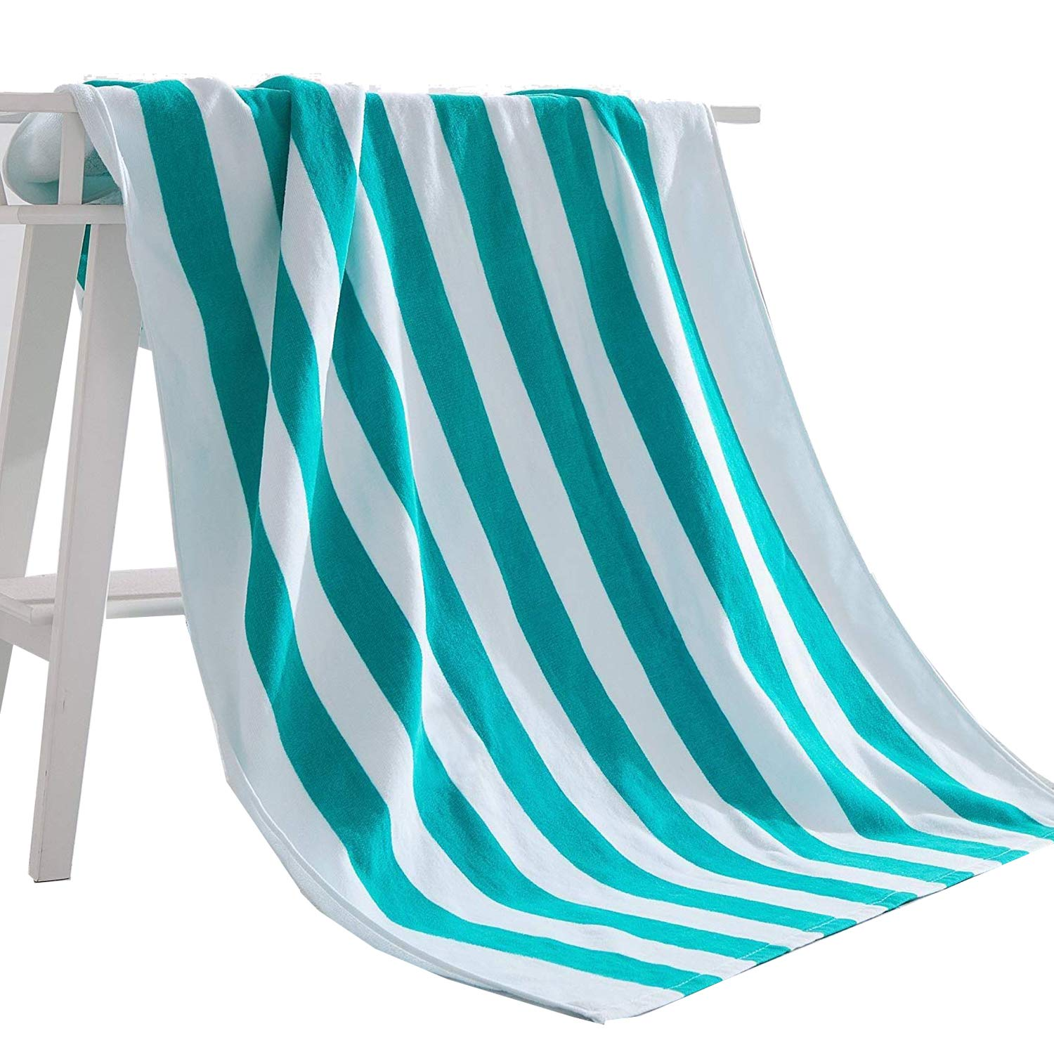 Exclusivo Mezcla 100% Cotton Cabana Striped Beach Towel Caribbean Blue and White (30'' x 60'')-Soft, Quick Dry, Lightweight, Absorbent, and Plush