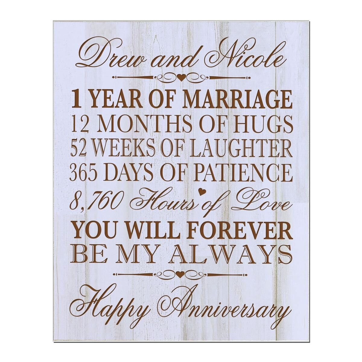 LifeSong Milestones Personalized 1st Wedding Anniversary Wall Plaque Gifts for Couple, Custom 1st for Her,1st Wedding 12'' W X 15'' H Wall Plaque (DW)