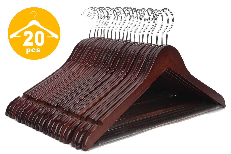 JS HANGER Multifunctional High Grade Solid Wooden Suit Hangers, Coat Hangers, Walnut Finish, 20-Pack by JS HANGER