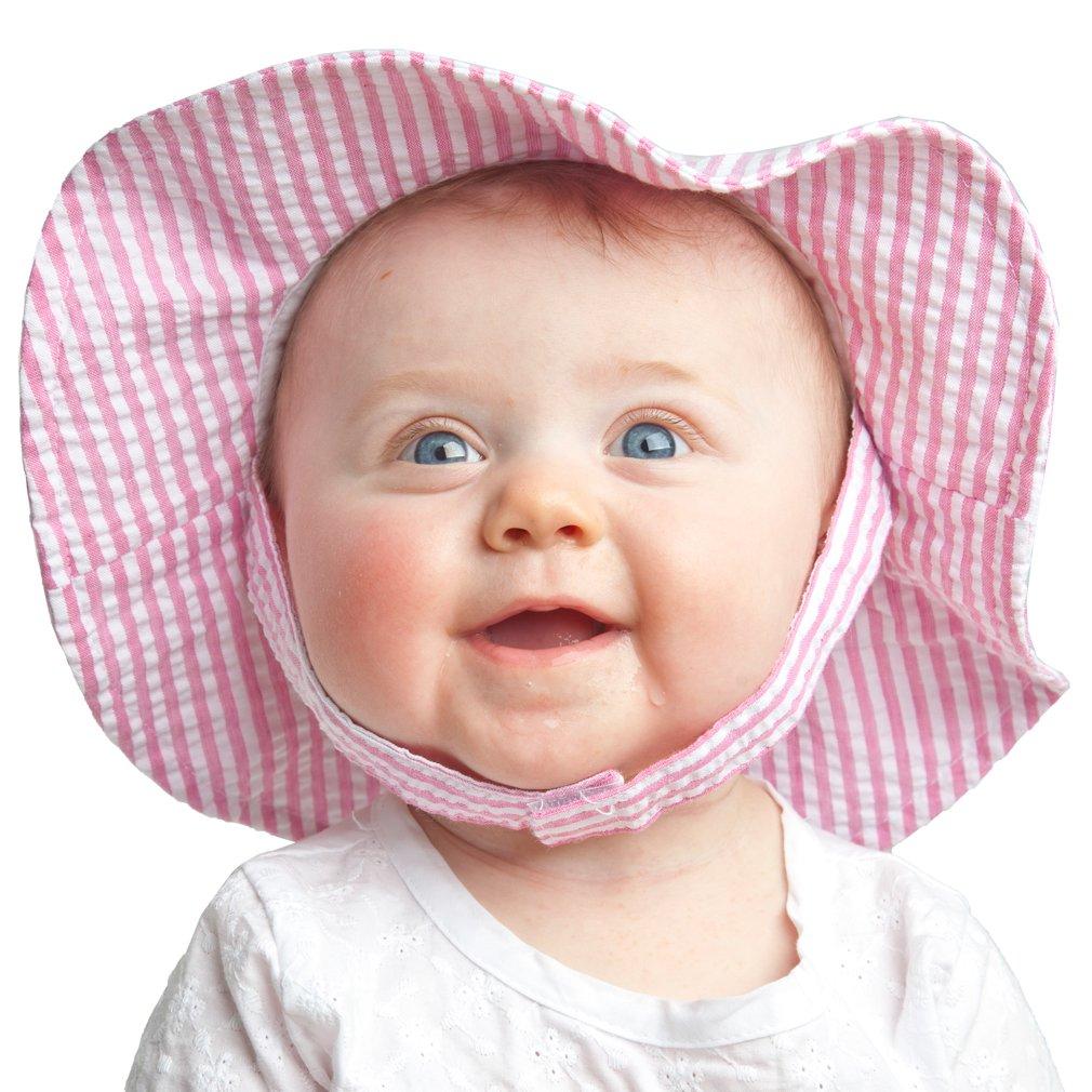Huggalugs Baby and Toddler Girls Seersucker Sunhat or Bloomer UPF 25+