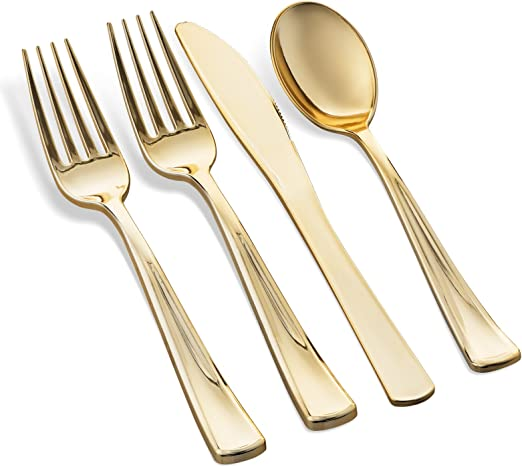 USA 100 Pcs Golden Disposable Plastic Forks Cutlery For Dessert BBQ Party Buffet