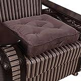 Homescapes Coussin de Chaise ou Réhausseur en 100% cuir velours de 50 x 50 x 10 cm de couleur chocolat
