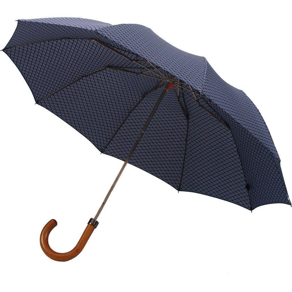 London Undercover Wave Pattern Telescopic 10 Rib Umbrella   Maple Handle