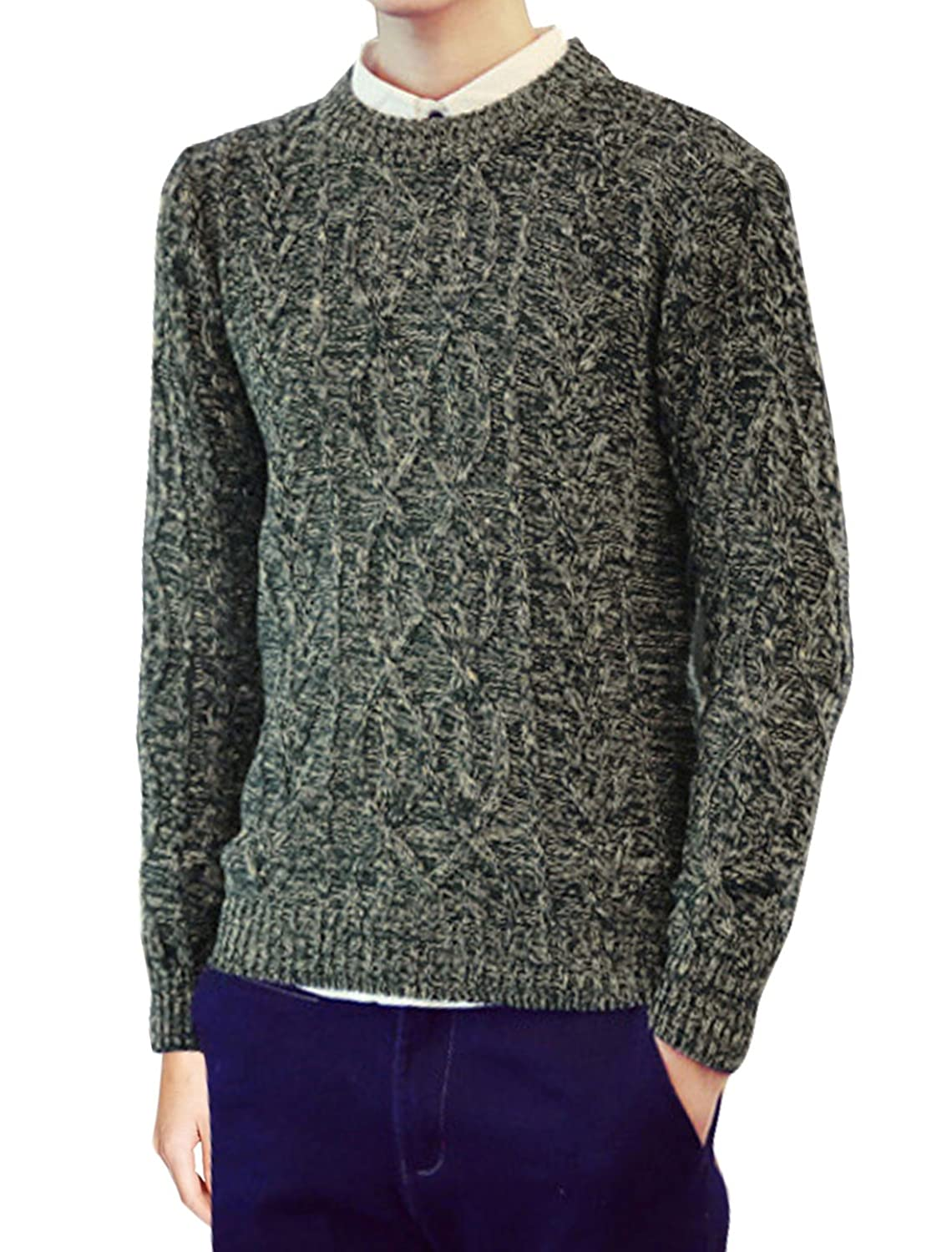 sourcingmap? Men Crew Neck Long Sleeves Cable Knit Slim Fit Sweater