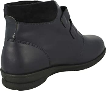 Casual Ankle Boots Black 4E//6E Padders KATHY Ladies Womens Leather Super Wide