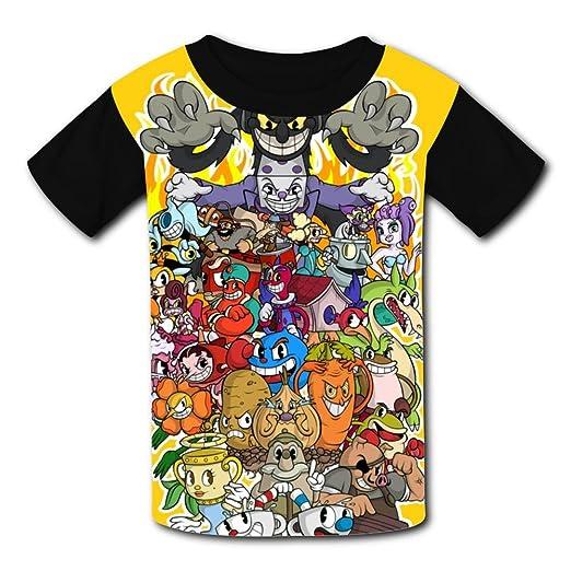 e2afe18f5bf Amazon.com  Robadyme Cupxhead T-Shirt Short Sleeve Kids Tee Shirt ...