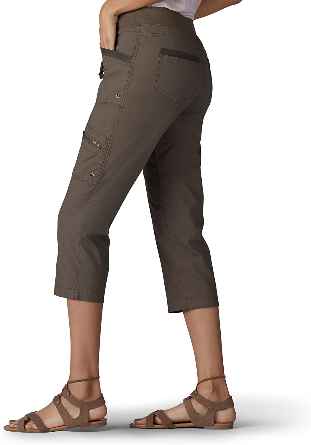Lee Womens Relaxed Fit Margeaux Knit Waist Cargo Capri Pant Pants