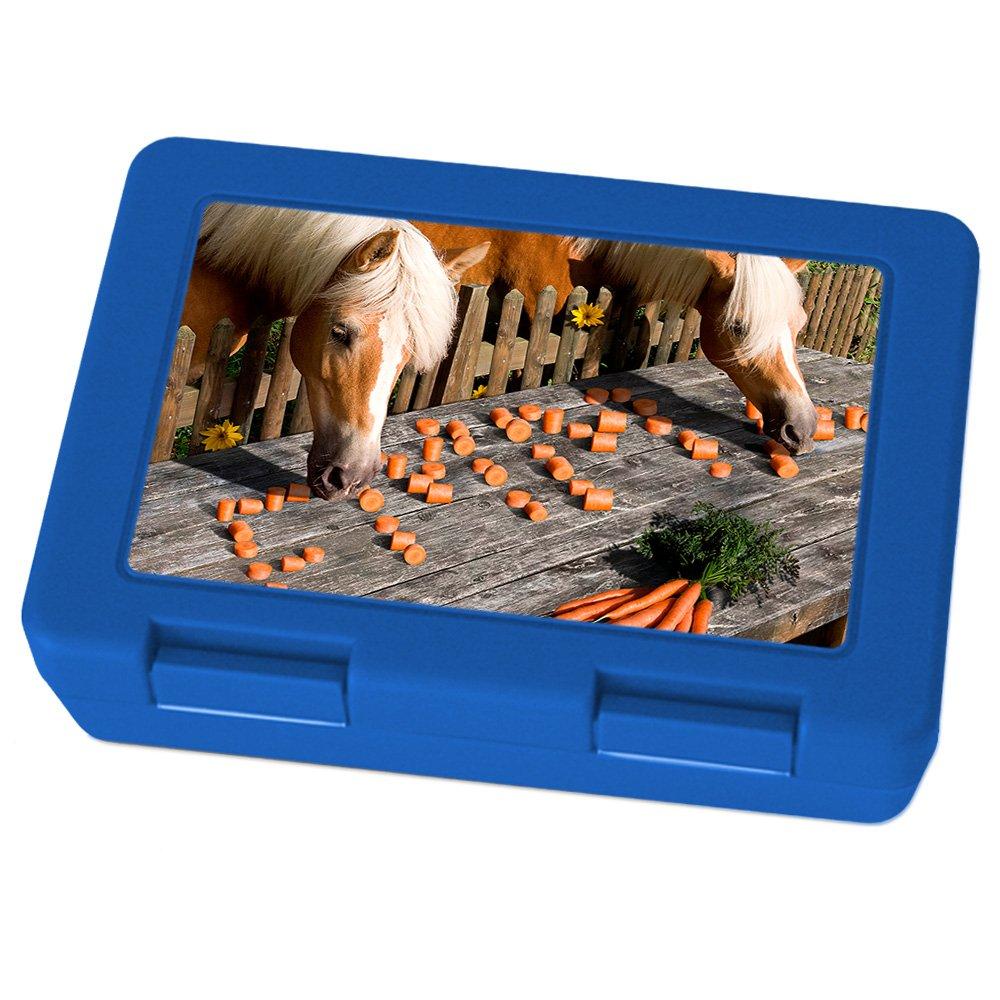 printplanet Brotdose mit Namen Emma, Motiv Pferde , Lunchbox mit Namen, Brotdose Blau - Frühstücksdose Kunststoff lebensmittelecht