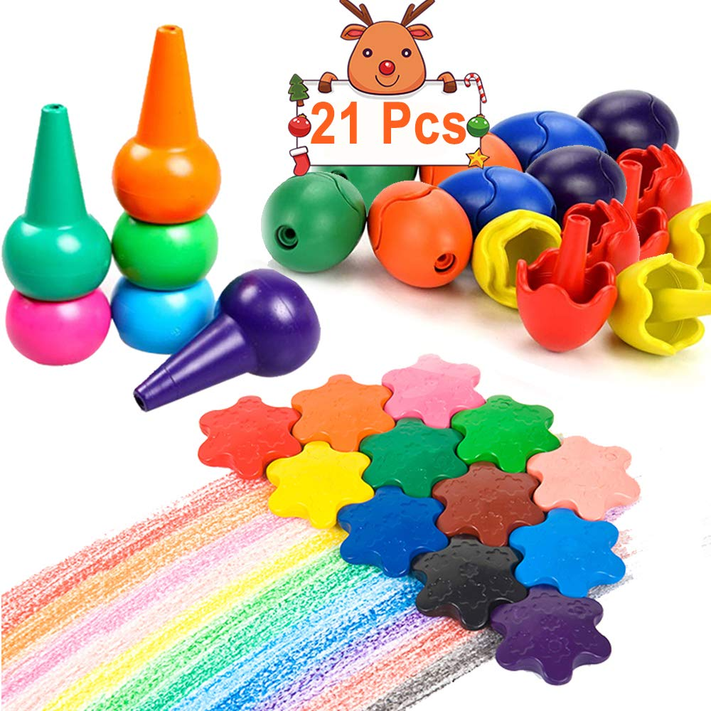 Crayons for Toddlers 12 Colors Paint Crayons 12 Stars 6 Eggs 3 Fingers Crayons Palm Grip Crayons Stackable Toys for Kids 1-3 Years Safe/Non-Toxic/Washable Christmas Crayons Bulk Birthday Gifts 21 Pack COWEAL