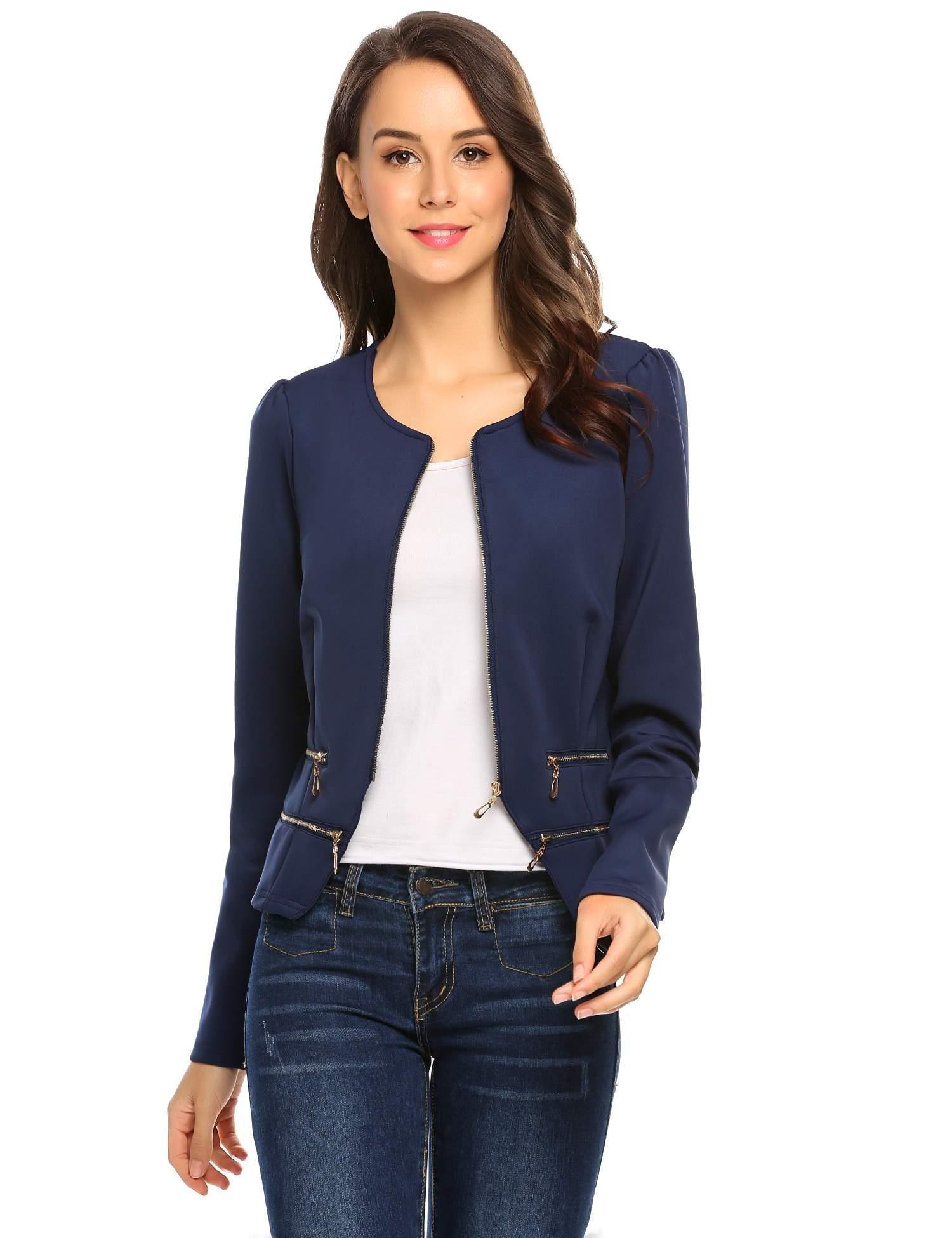 Zeagoo Women's Casual Zipper Cardigan Blazer O Neck Slim Fitted Office Jacket (L, Navy Blue) by Zeagoo (Image #2)