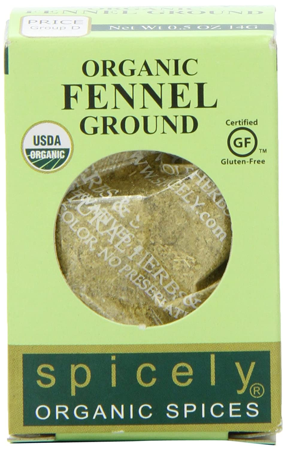 Spicely Organic Fennel Seeds Ground - Compact