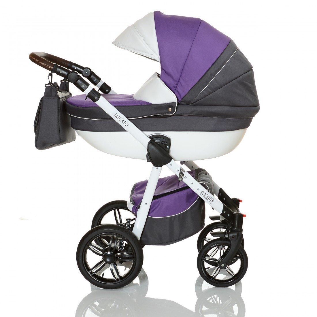 purple violet LCP Kids Poussette combinee 3en1 LUCATO eco cuir pour bebe et enfant 0-36 moins pliable avec module canne et siege auto groupe 0 du 0 a 13 kg
