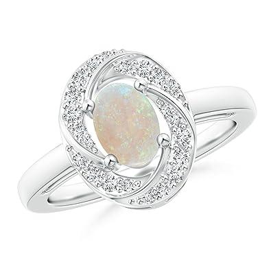 Angara Classic Prong Set Opal Pinwheel Ring with Diamonds W7u5FnX