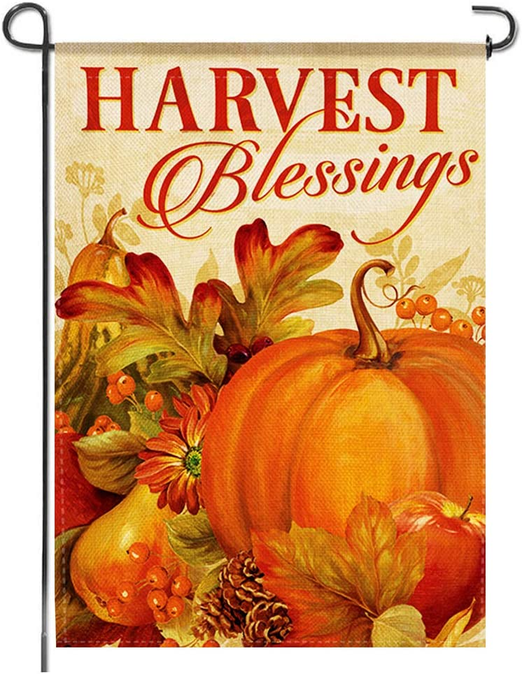 Thanksgiving Garden Flag Fall Harvest blessings Pumpkin Rustic Burlap Small Autumn Farmhouse Seasonal Bunting Double Sided Country Banner Lawn Front Yard Patio Porch Outdoor Decoration , 12x18 Inch