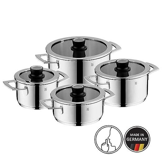 WMF 07.7004.6380 Vario Cuisine-Batería de Cocina de 4 Piezas con termómetro Integrado, Acero Inoxidable, Cromargan