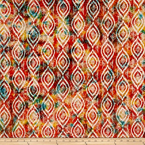 Textile Creations Indian Batik Diamond Ikat Coral/Teal Fabric By The -