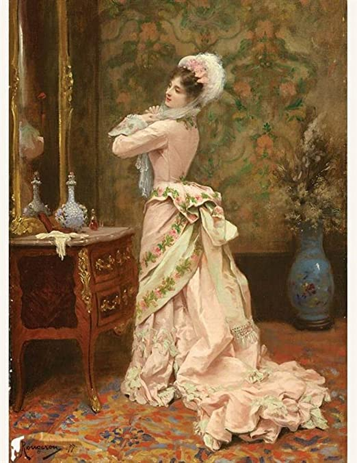Victorian Trading Co Toilette Print Woman in Pink Looking in Mirror Rougeron