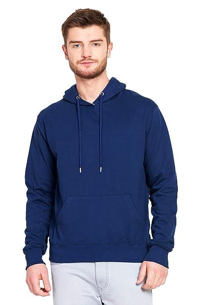 f7a914f13ef4 Fashion And Youth Men s Cotton Plain Navy Hoodie Sweatshirt