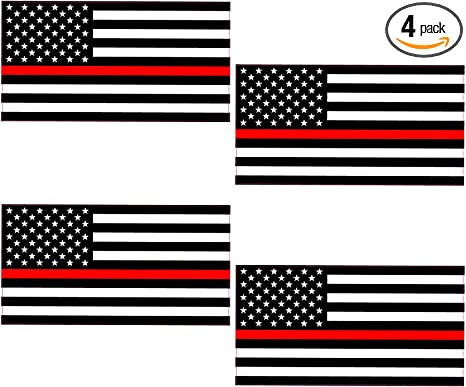 amazon com hit or miss designs thin red line subdued american flag 4 pack of reflective hard hat helmet 2 decals full color vinyl decal sized for macbook phones windows or amazon com