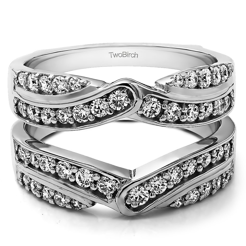 TwoBirch 1.01 Ct. Infinity Bypass Engagement Ring Guard in Sterling Silver with Cubic Zirconia (Size 6) by TwoBirch
