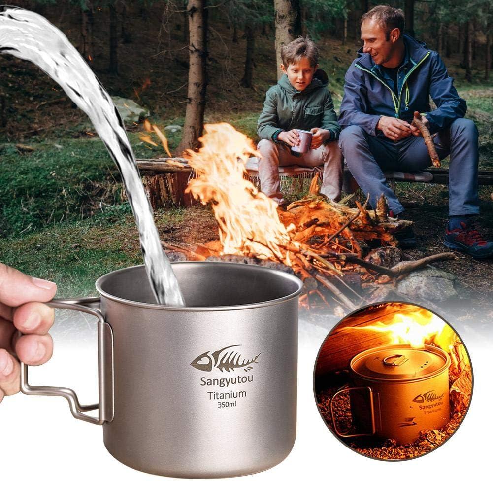 Taza De Titanio para Acampar Port/átil Taza De Agua para Picnic con Tapa Mango Plegable 350 Ml