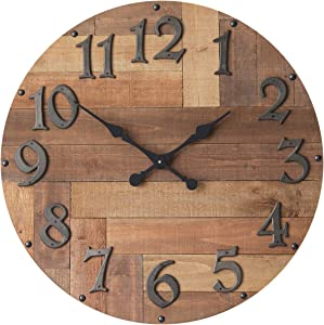 NIKKY HOME Farmhouse Large Wood Wall Clock - 30 Inch Battery Operated Silent Non Ticking Rustic Outdoor Wooden Clock Home Decor for Kitchen, Living Room, Bedroom, Office