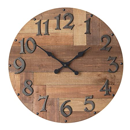 NIKKY HOME Decorative Wood Round Large Wall Mounted Clock, 29.92 , Brown