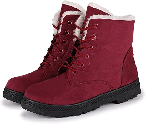 NOT100 Womens Winter Fur Snow Boots Warm Sneakers Red