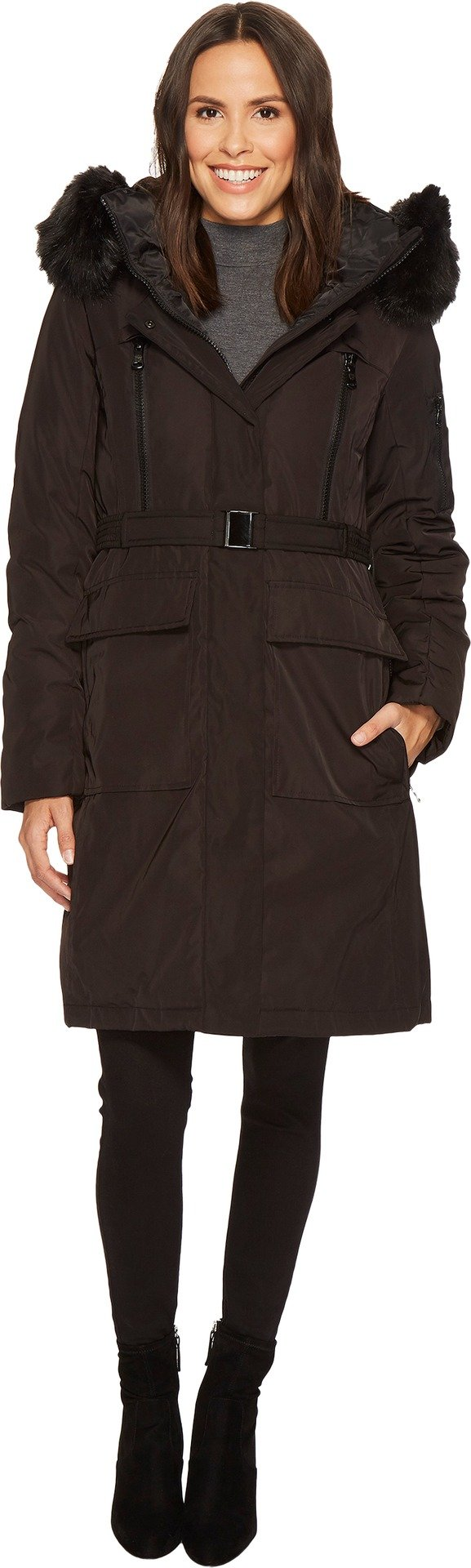 Vince Camuto Womens Belted Long Coat with Faux Fur Detail N8441 Black XL (US 16) One Size