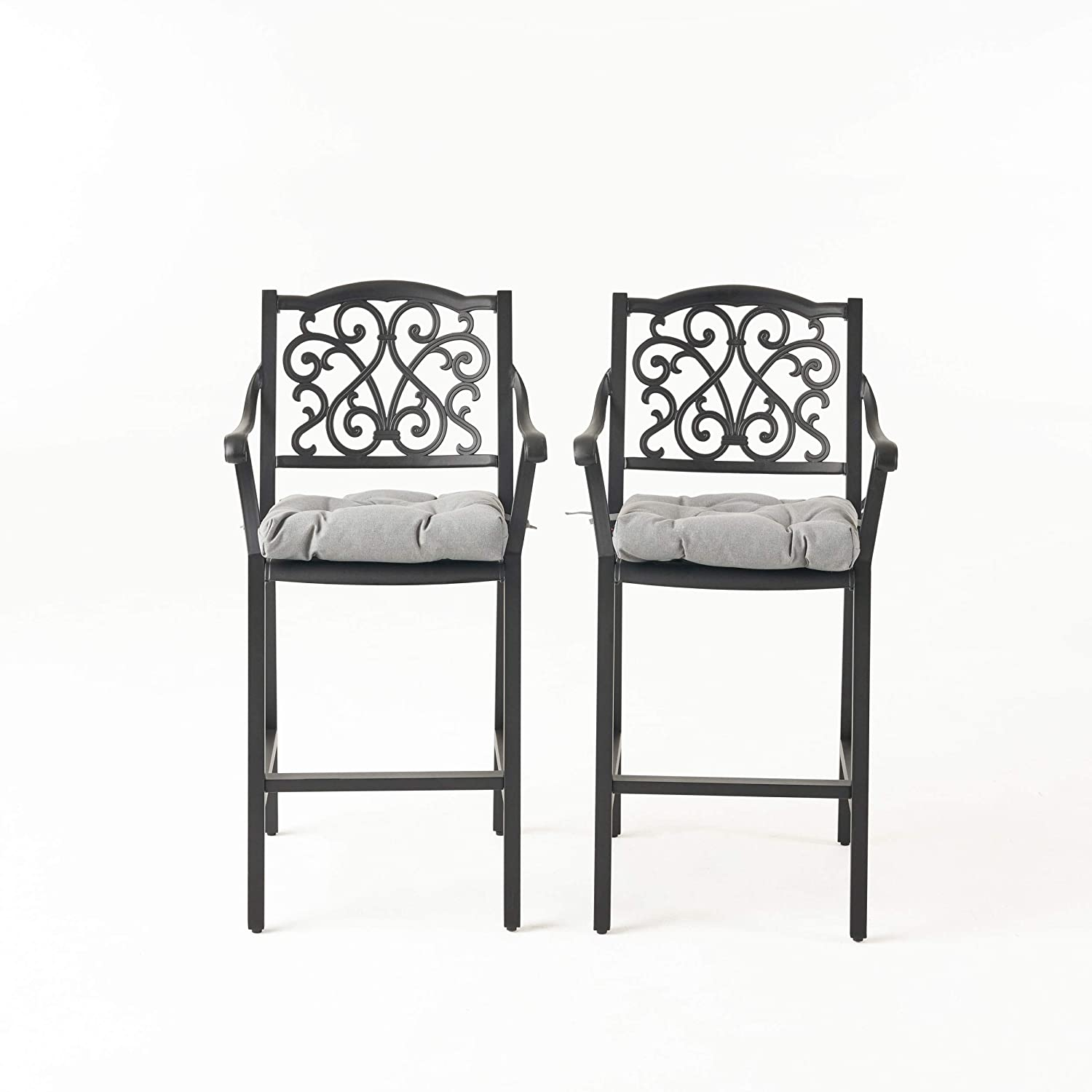 Great Deal Furniture Roberta Outdoor Barstool with Cushion (Set of 2) Antique Matte Black and Charcoal