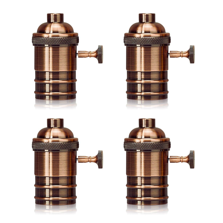 Homestia E26/E27 Medium Light Socket Copper Shell Edison Retro Pendant Lamp Holder Retro Style Fixture Replacement with Turn Knob 4 Pack, Rose