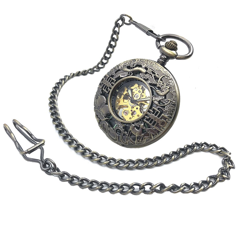 Amazon.com: CAIFU Brand Bronze Tone Skeleton Steampunk Hollow Case Hand Wind Mens Mechanical Pocket Watch w/Chain Reloj De Bolsillo: Watches