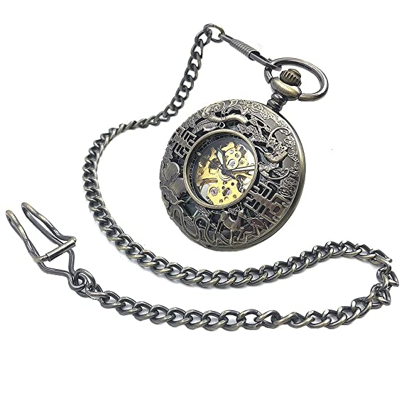 CAIFU Brand Bronze Tone Skeleton Steampunk Hollow Case Hand Wind Mens Mechanical Pocket Watch w/