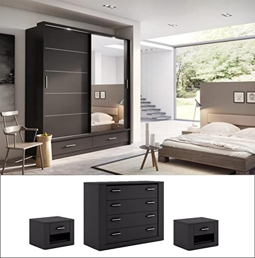 Arthauss Set de Dormitorio Moderno Arti 5 2 Puerta corredera Armario 200 cm en Negro Mate se Vende: Amazon.es: Hogar