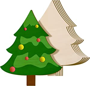 8 x 10 Inch Wooden Christmas Tree Cutout Christmas Unfinished Wooden Ornaments Blank Christmas Tree Craft Wooden Decorations for DIY Christmas Party Decor (6 Pieces)