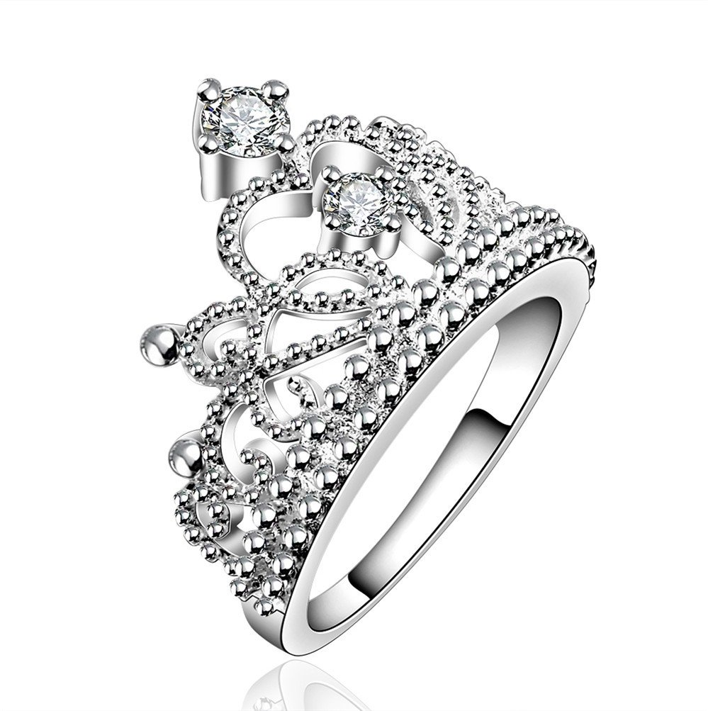 HMILYDYK Fashion Classic Jewelry 925 Sterling Silver plated Princess Crown Wedding Engagement Ring Gift
