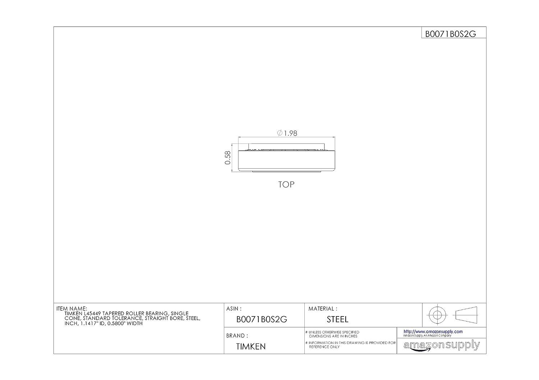 1,5/cm de large Single Acier inch Standard Timken L45449/C/ône de roulement /à rouleaux coniques 2,9/cm ID Tol/érance aux droite Al/ésage