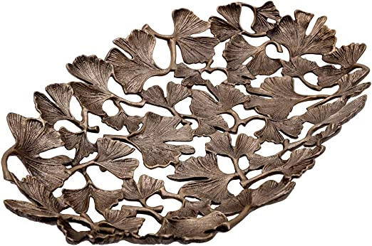 Amazon Com Decozen The Gingko Collection Aluminum Oval Tray Fruit Platter In Gingko Leaf Design Antique Brass Finish Table Décor Item For Home Decorative Serving Platter Home Kitchen