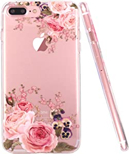 JAHOLAN iPhone 7 Plus Case, iPhone 8 Plus Case Girl Floral Clear TPU Soft Slim Flexible Silicone Cover Phone Case for iPhone 7 Plus iPhone 8 Plus - Rose Flower