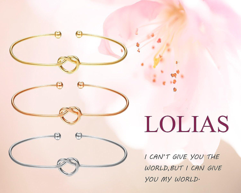 LOLIAS 6 Pcs Love Knot Bangle Bracelets Simple Cuffs Bridesmaid Bracelets for Women Girls Stretch Bracelets Gold-Tone Rose Gold-Tone 4WLKB-092-6C