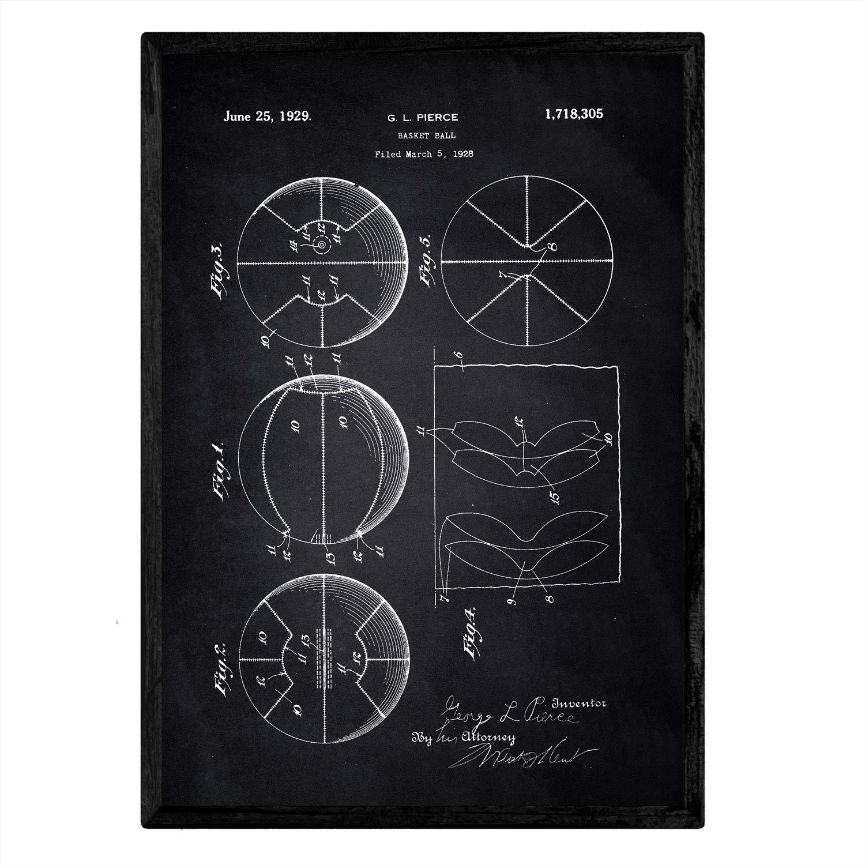Nacnic Poster con Patente de Canasta Baloncesto. Lámina con diseño ...