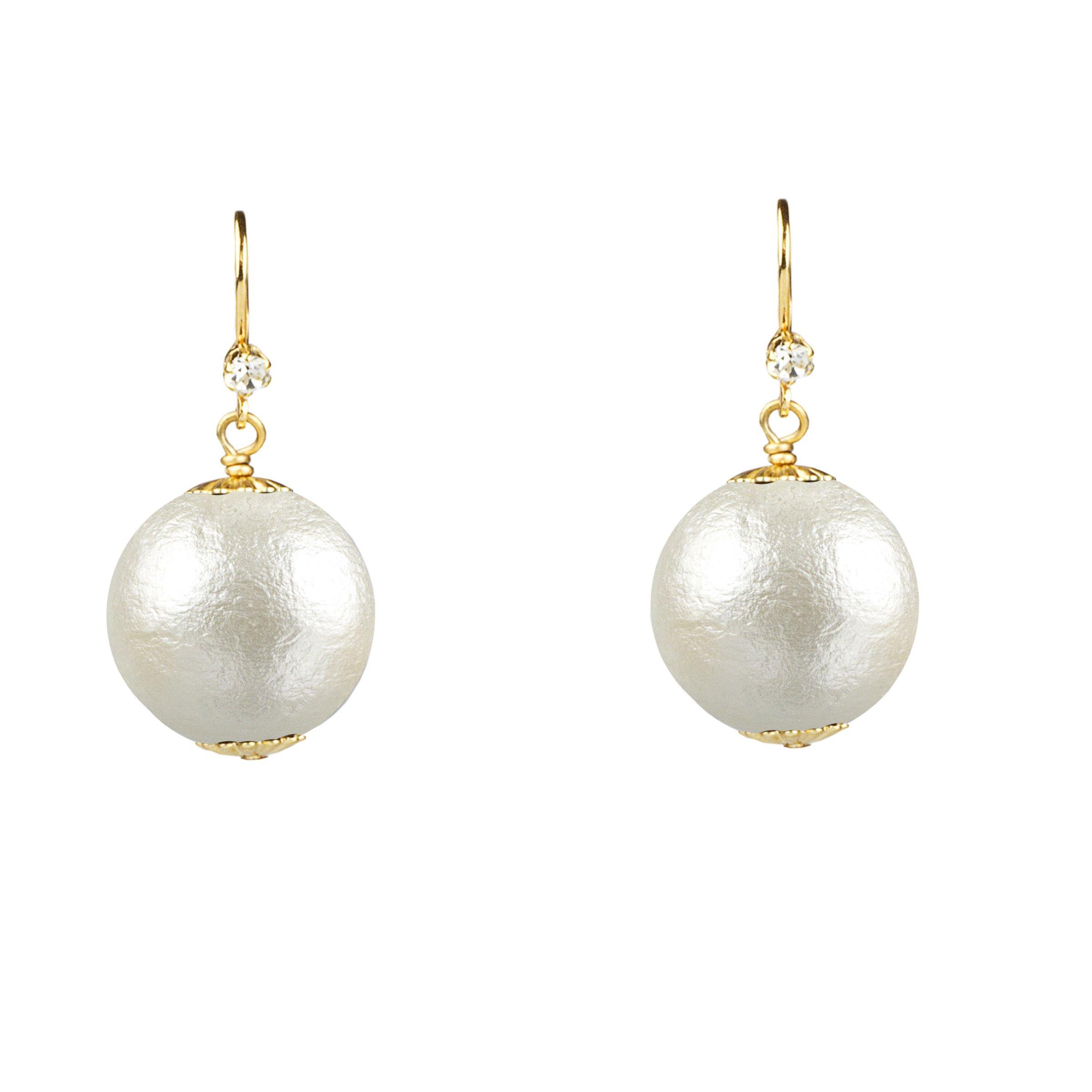 20mm John Wind White Cotton Pearl Earrings, Gold Tone