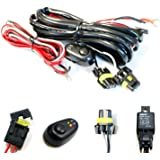 iJDMTOY (1) 9005 9006 H10 Relay Harness Wire Kit with LED Light ON/OFF Switch Compatible With Aftermarket Fog Lights, Driving