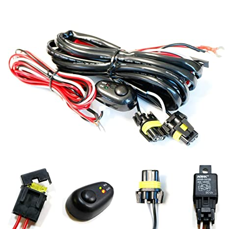 iJDMTOY (1) 9005 9006 H10 Relay Harness Wire Kit with LED Light ON/OFF on