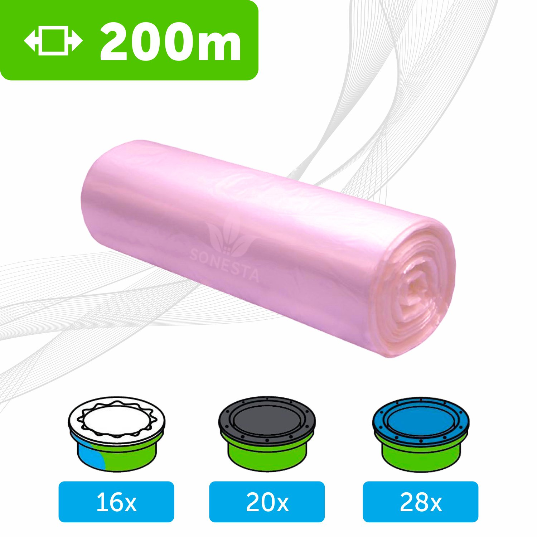 200 M - ECO Recarga compatible Sangenic Tommee Tippee | Angelcare para pañales | equivalente 16 cajitas Sangenic | 28 Angelcare | Producido en Europa | Color Rosa SONESTA