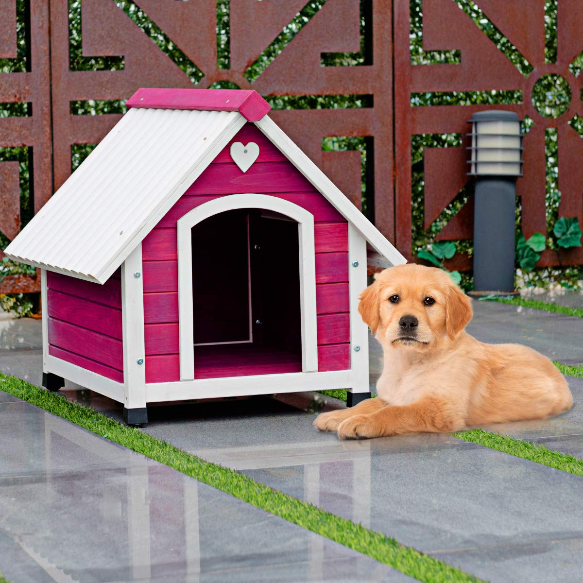 TANGKULA Wooden Dog House Outdoor Indoor Lovely Pet Shelter