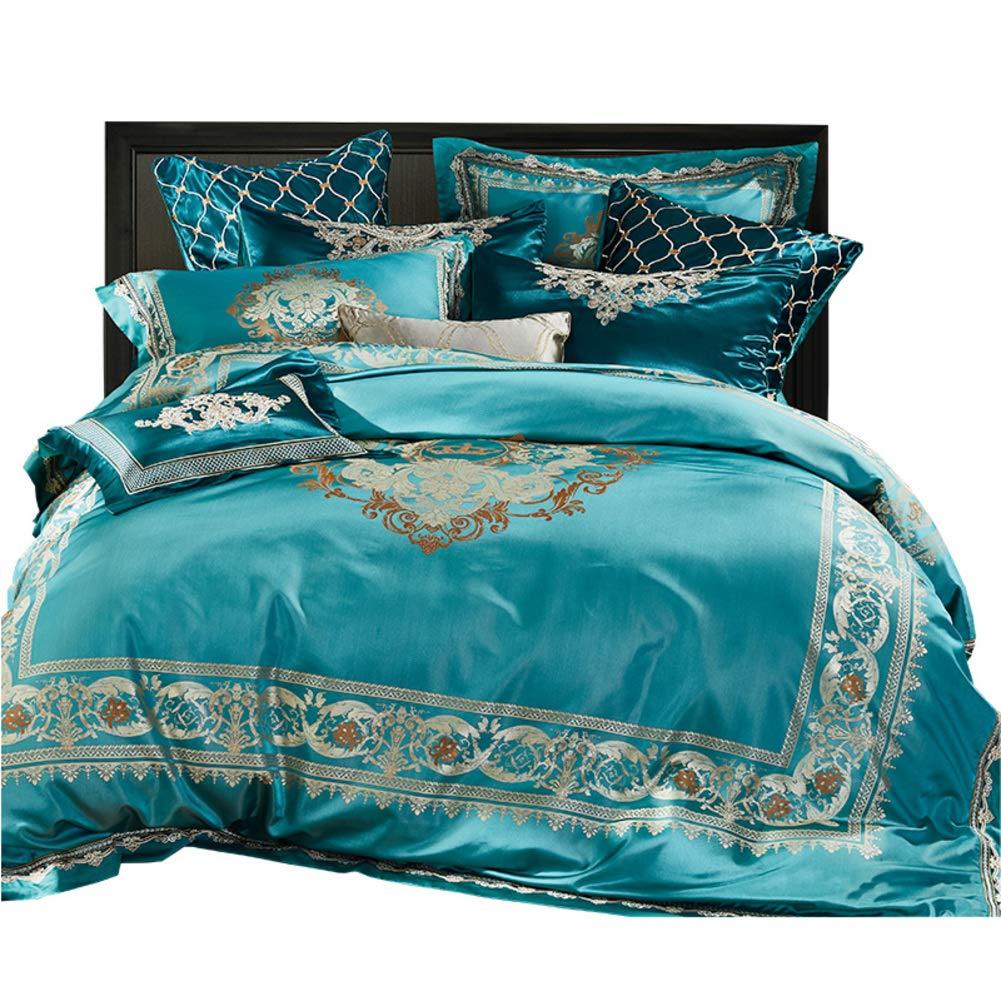絹のような ホテル 寝具ベッド ベッドスプレッ, 高級 10% プレミアム 寝具 ウルトラソフト 羽毛布団カバーセット 抗アレルギー な 掛け布団カバー-緑 B07T3BDZ47