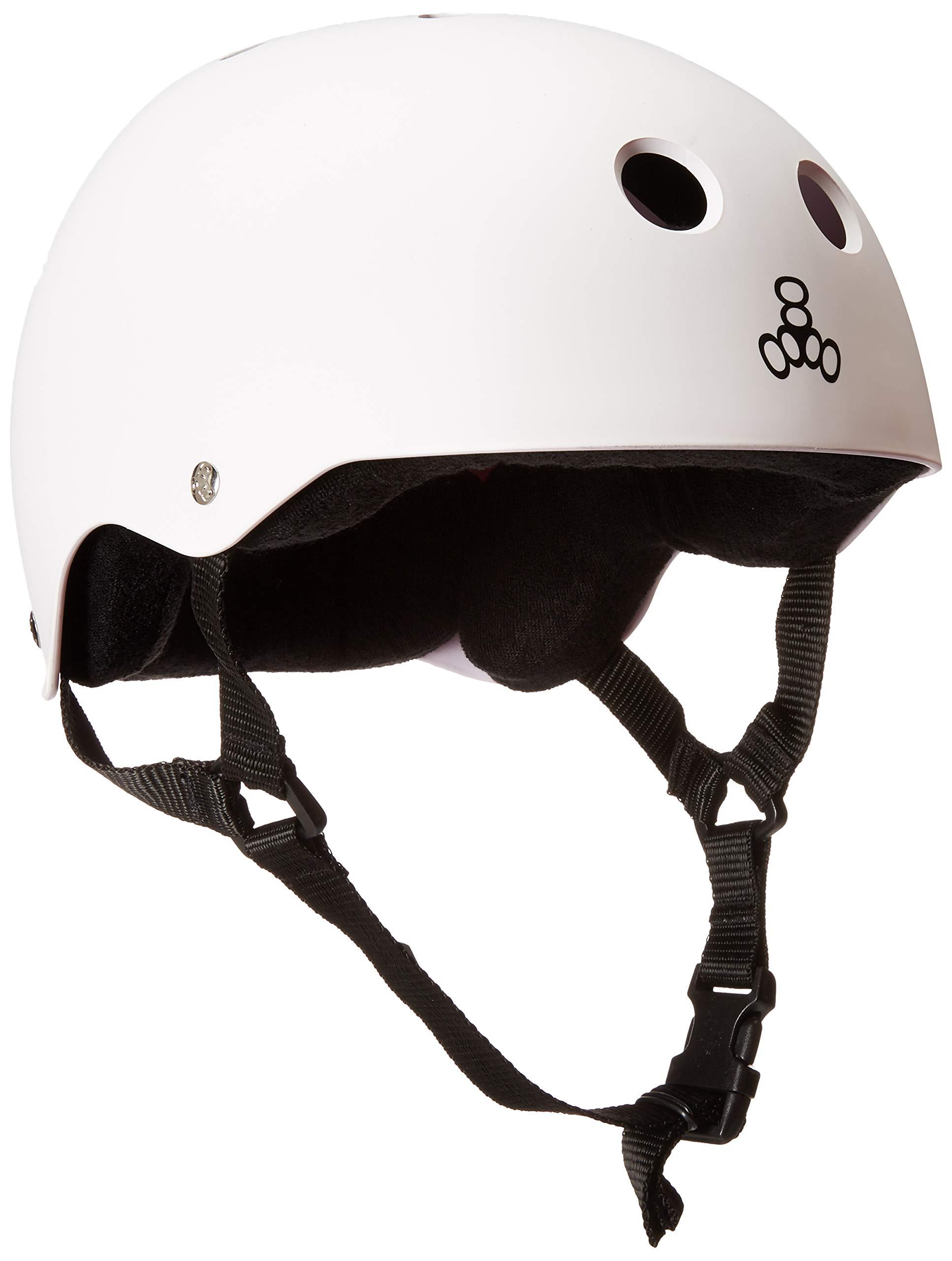 Triple 8 Sweatsaver Liner Skateboarding Helmet, White Rubber, S
